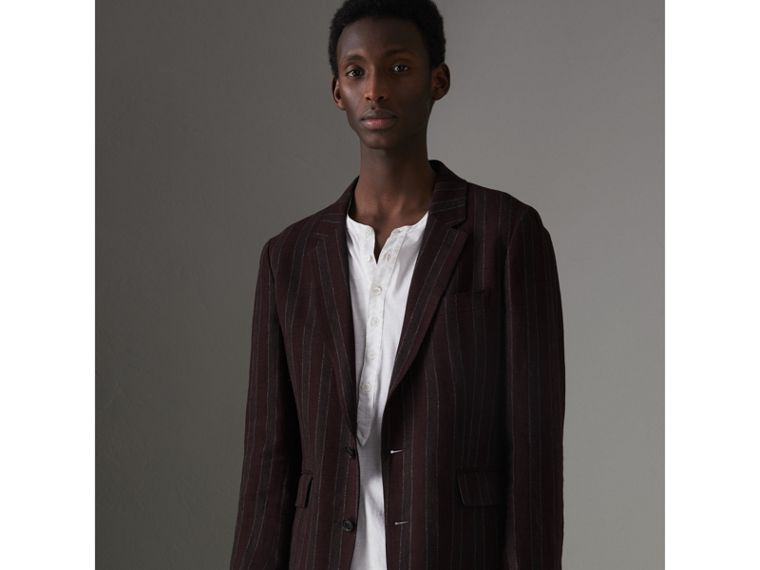Soho Fit Striped Linen Tailored Jacket in Burgundy - Men | Burberry - cell image 4