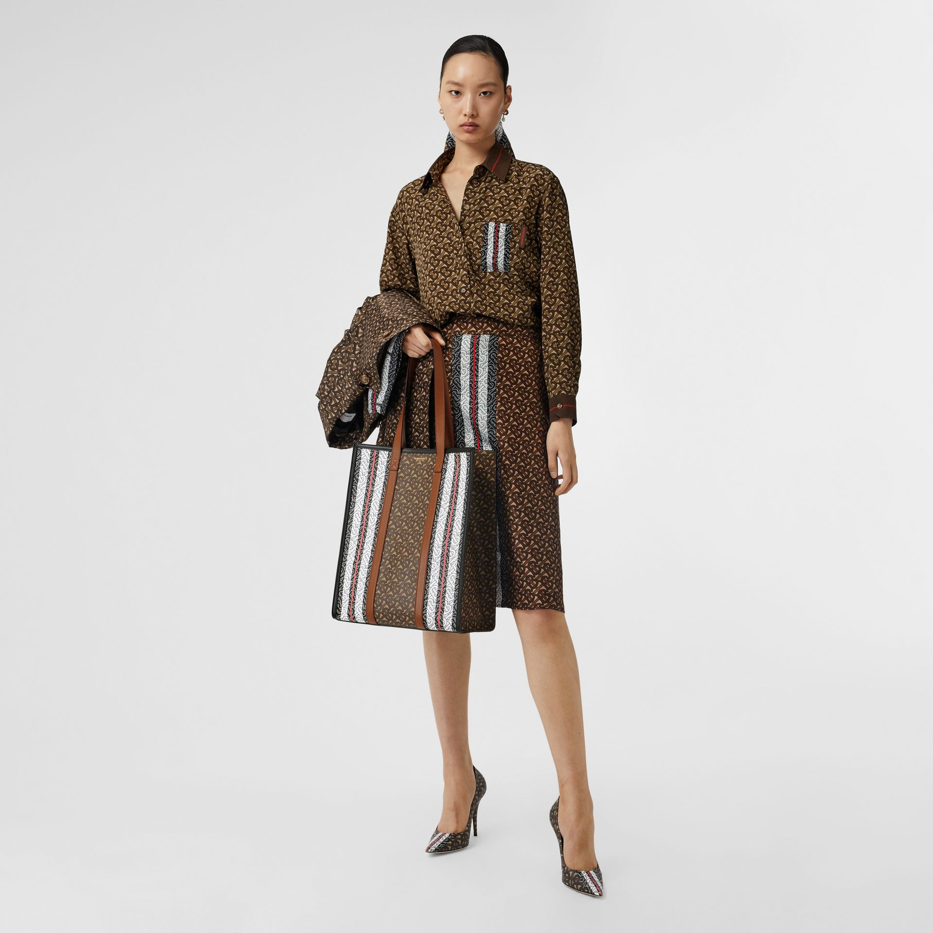 Monogram Stripe Print Silk Oversized Shirt in Bridle Brown - Women | Burberry - gallery image 4