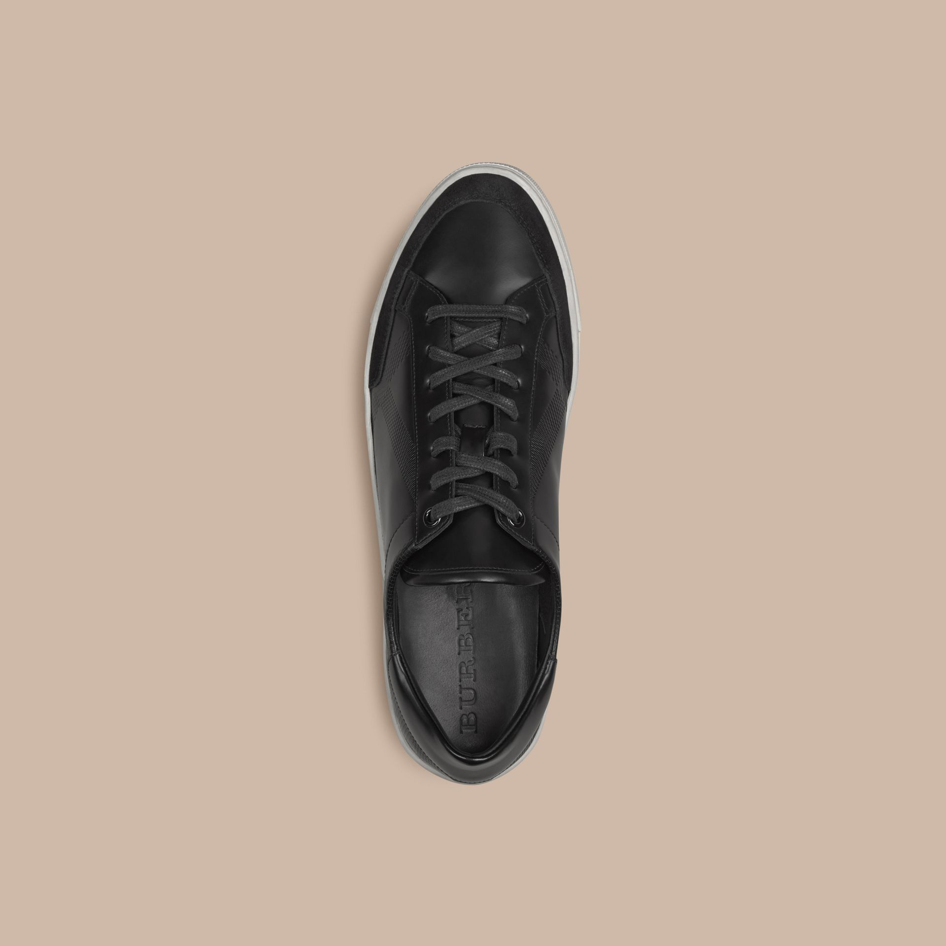 Black Embossed Check Leather Trainers - gallery image 3