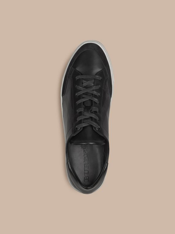 Black Embossed Check Leather Trainers - cell image 2