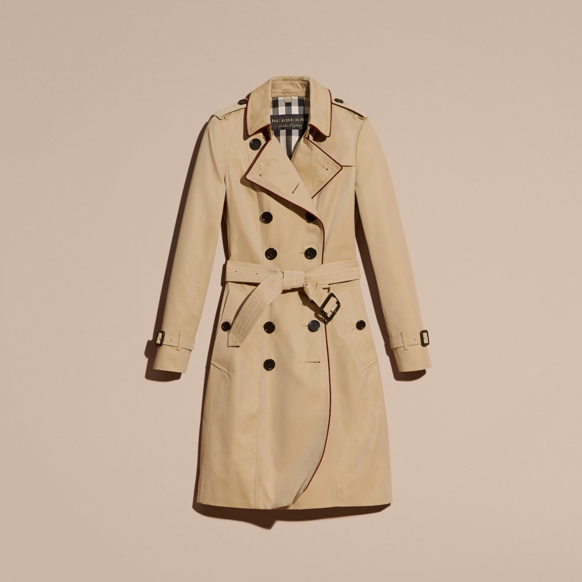 Honey Cotton Gabardine Trench Coat with Regimental Piping - gallery image 4