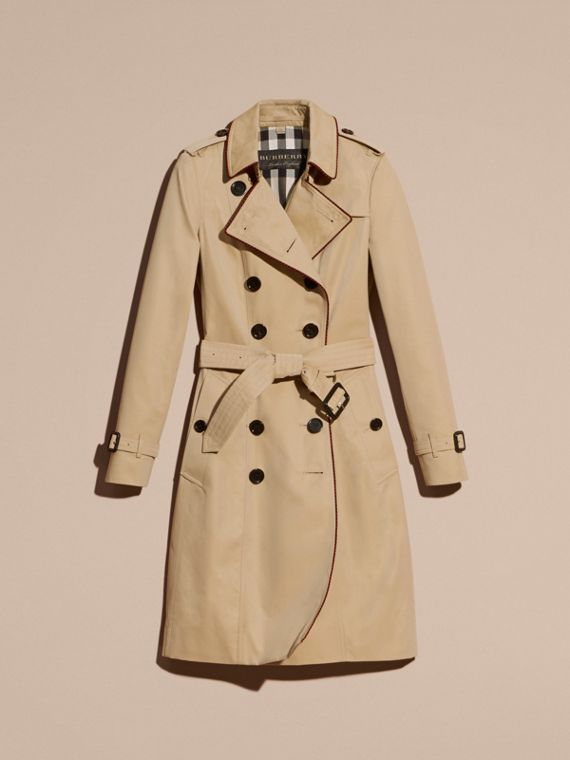 Honey Cotton Gabardine Trench Coat with Regimental Piping - cell image 3