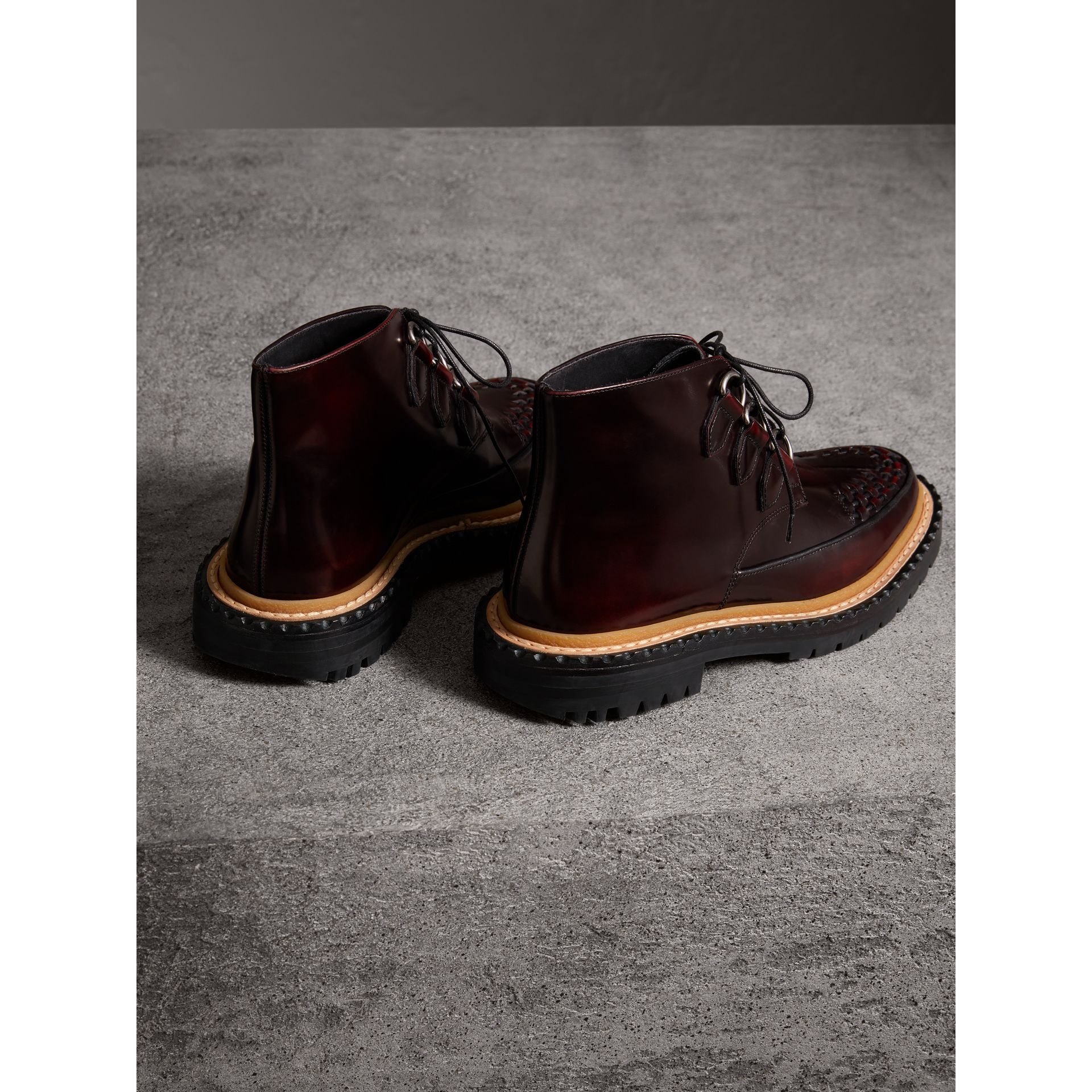 Woven-toe Polished Leather Ankle Boots in Bordeaux - Women | Burberry Singapore - gallery image 2