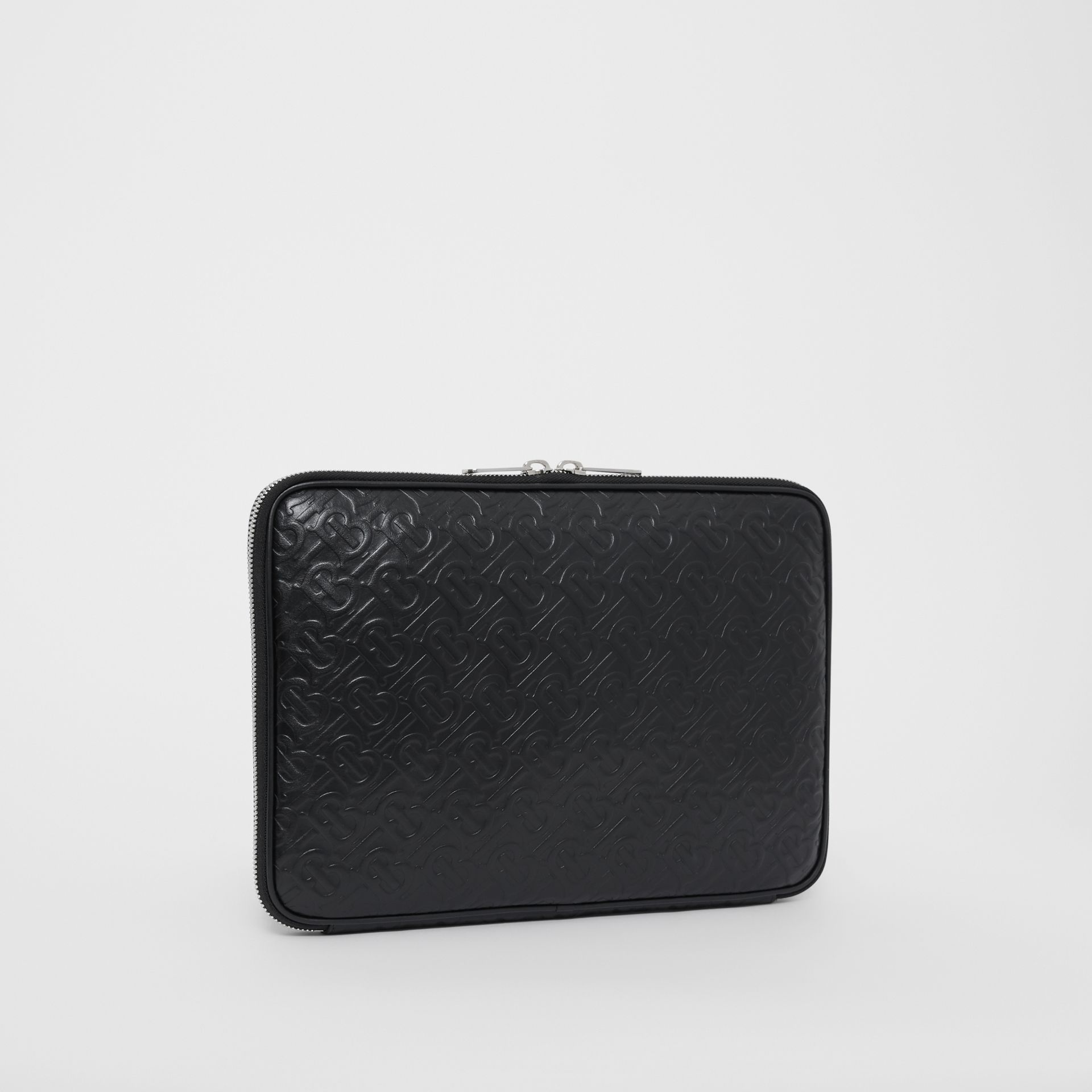 Monogram Leather Digital Case in Black - Men | Burberry - gallery image 4