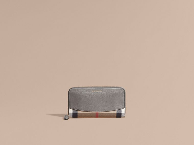 House Check and Leather Ziparound Wallet - cell image 1