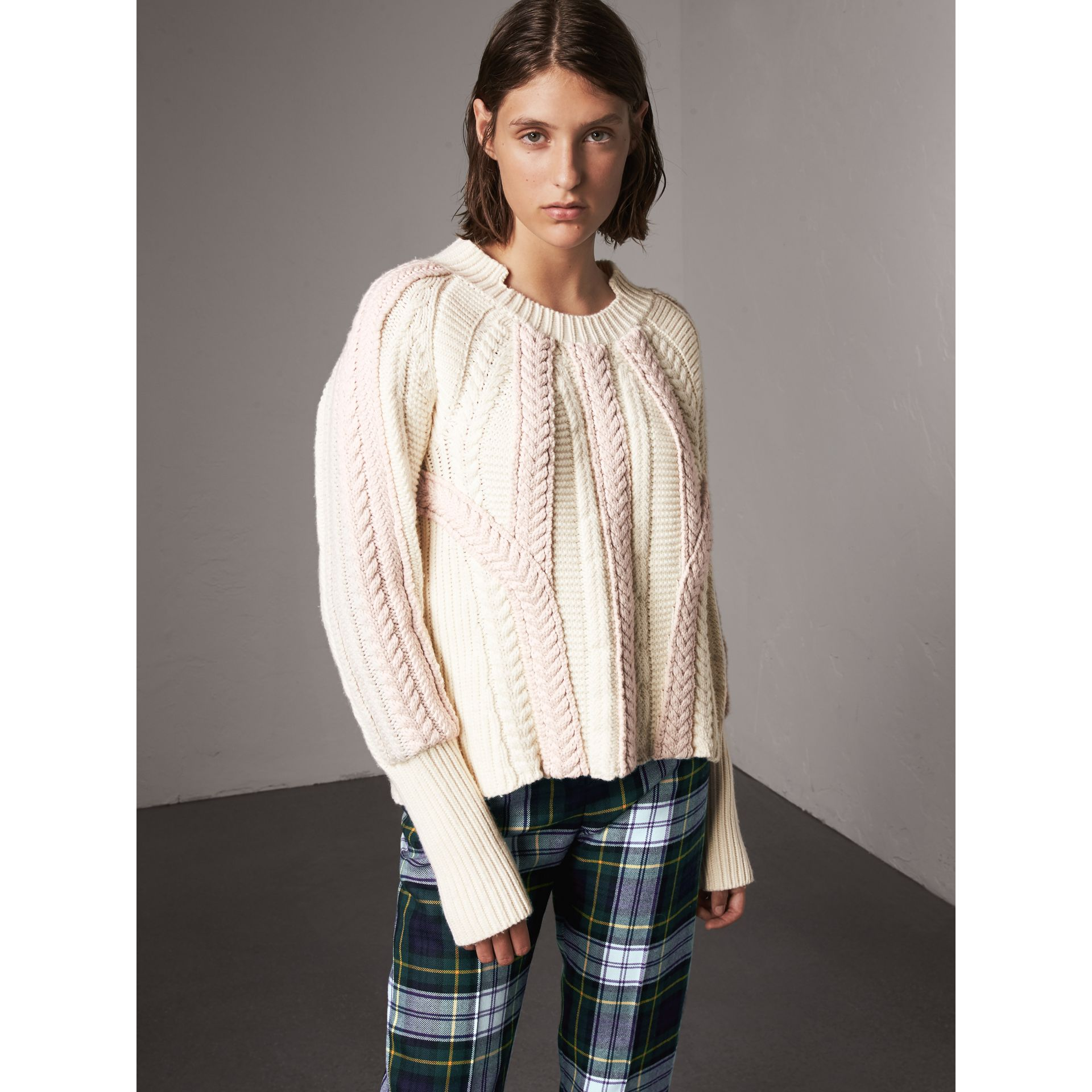Two-tone Cable Knit Wool Cashmere Sweater in Natural White - Women | Burberry - gallery image 5