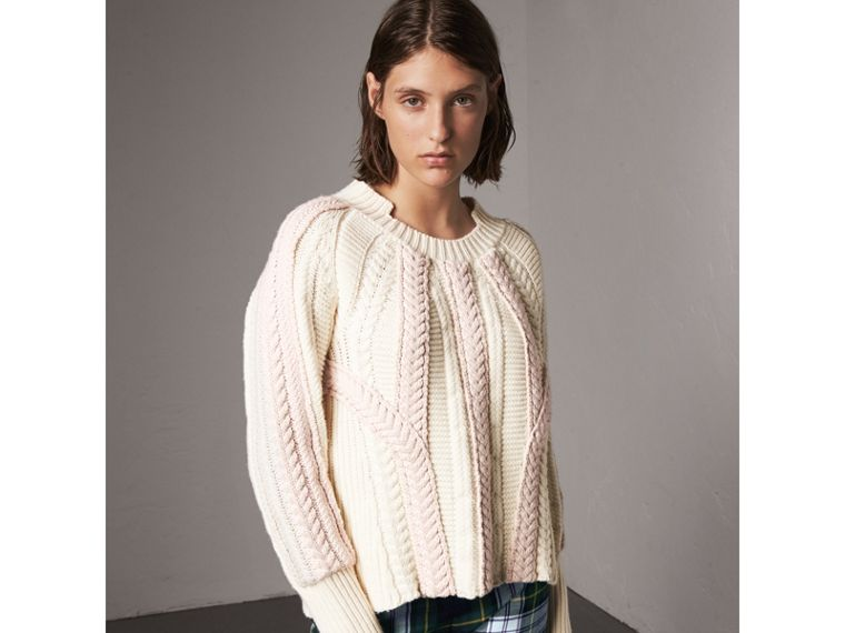 Two-tone Cable Knit Wool Cashmere Sweater in Natural White - Women | Burberry - cell image 4