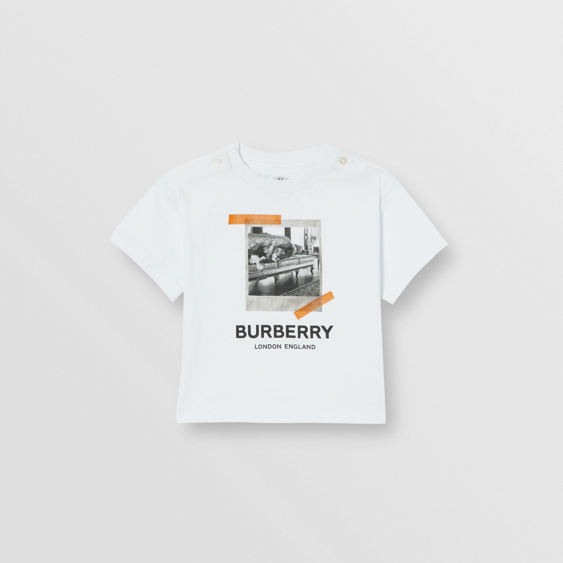 Vintage Polaroid Print Cotton T-shirt in White - Children | Burberry United Kingdom - gallery image 0