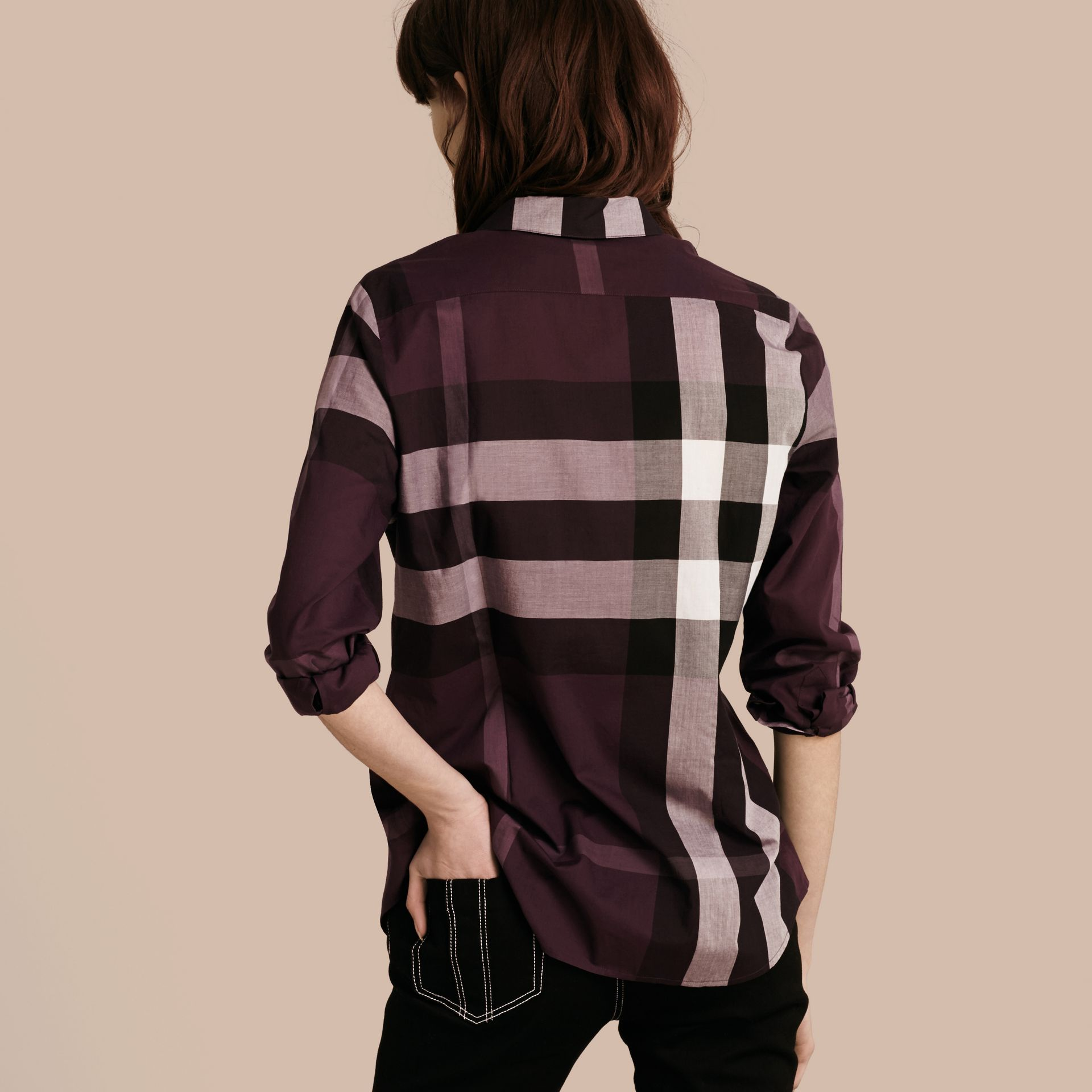 Dark violet Check Cotton Shirt Dark Violet - gallery image 3