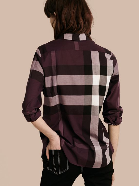 Dark violet Check Cotton Shirt Dark Violet - cell image 2