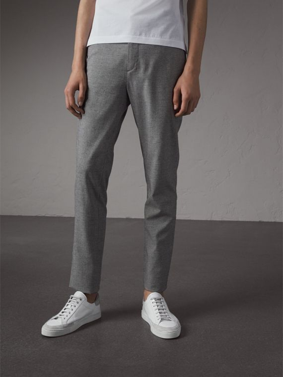 Micro Houndstooth Cotton Wool Blend Drawstring Trousers in Charcoal - Men | Burberry