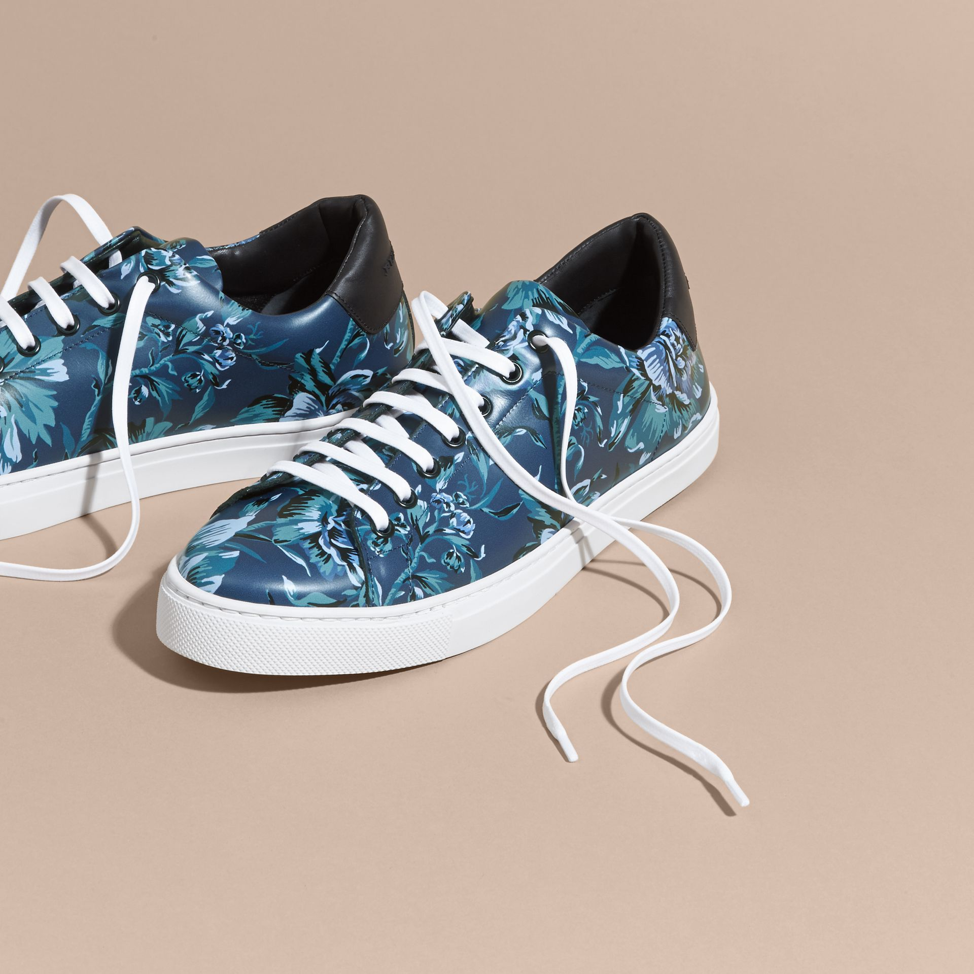 Ink Peony Rose Print Leather Trainers - gallery image 3
