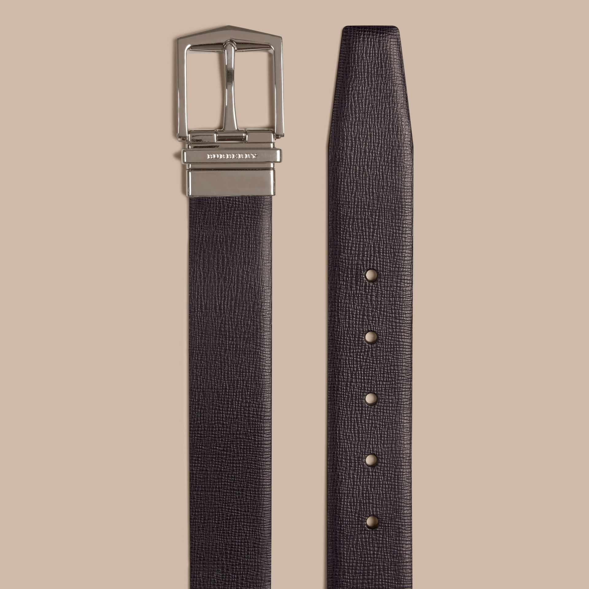 Reversible London Leather Belt in Dark Navy/black - gallery image 3