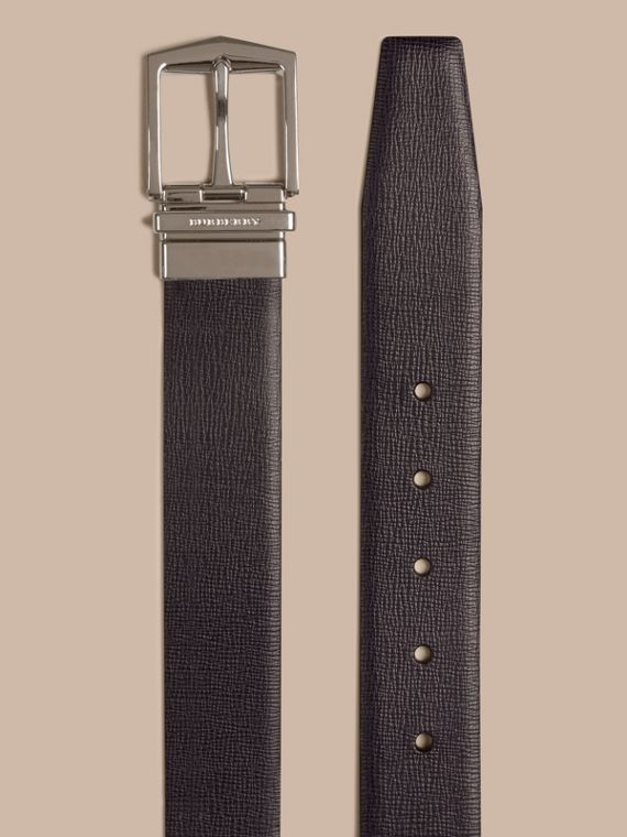 Reversible London Leather Belt in Dark Navy/black - Men | Burberry - cell image 2