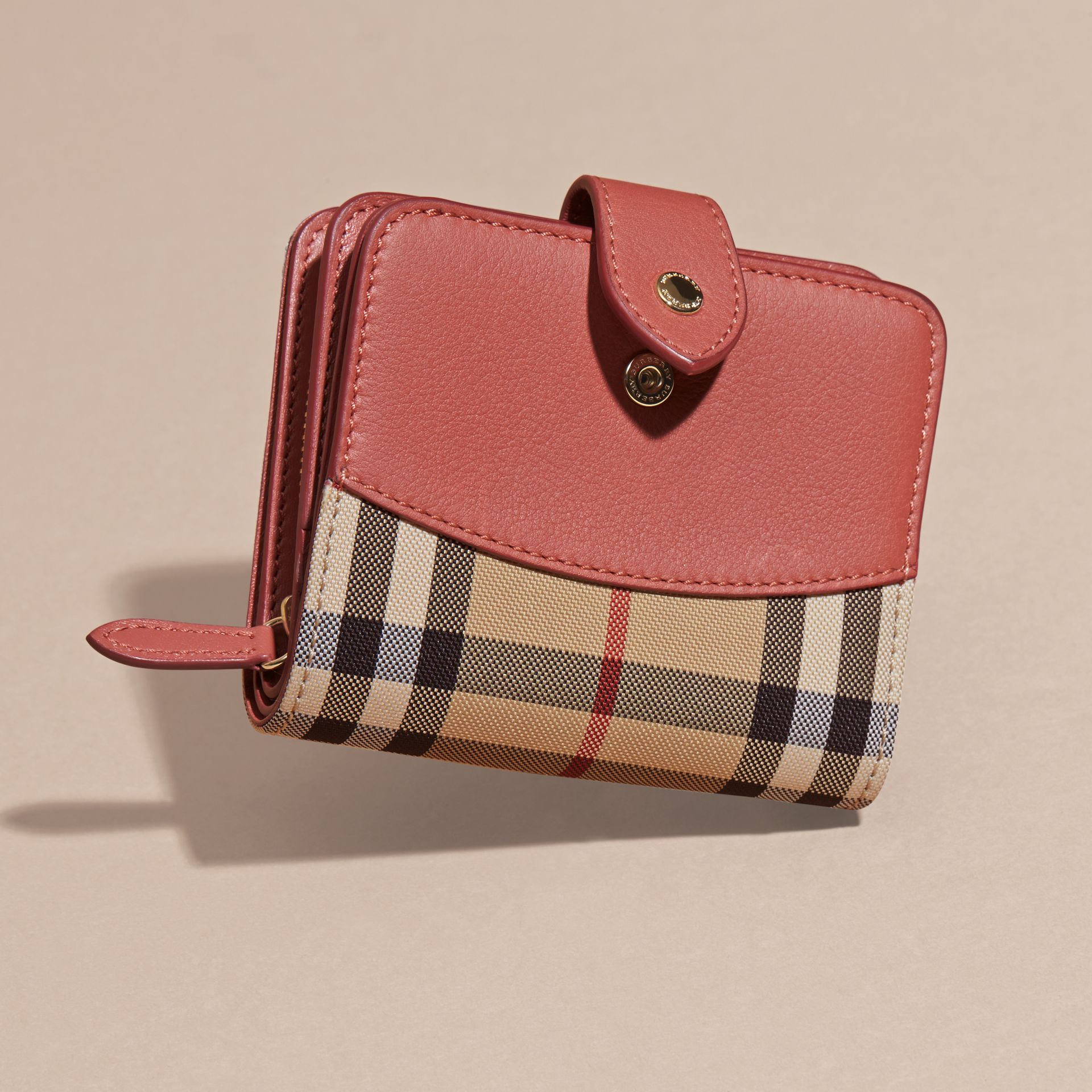Horseferry Check and Leather Wallet Antique Rose - gallery image 3
