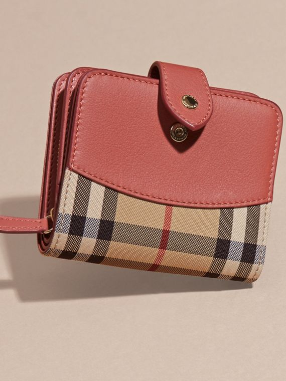 Horseferry Check and Leather Wallet Antique Rose - cell image 2