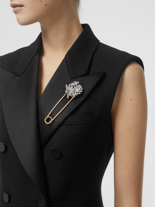 Crystal Daisy Gold-plated Kilt Pin in Natural Silver - Women | Burberry - cell image 2