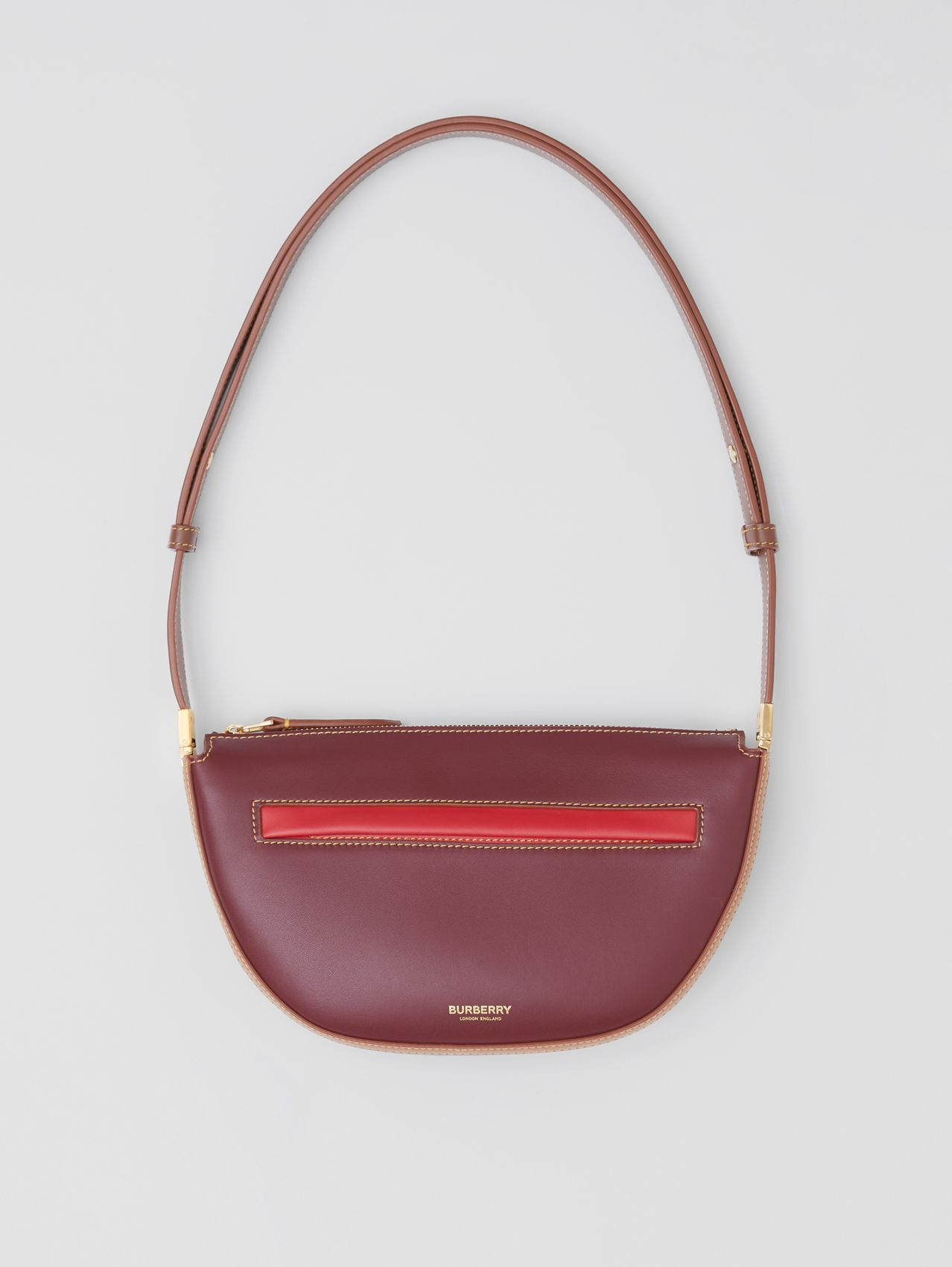 Mini Colour Block Leather Zip Olympia Bag in Garnet