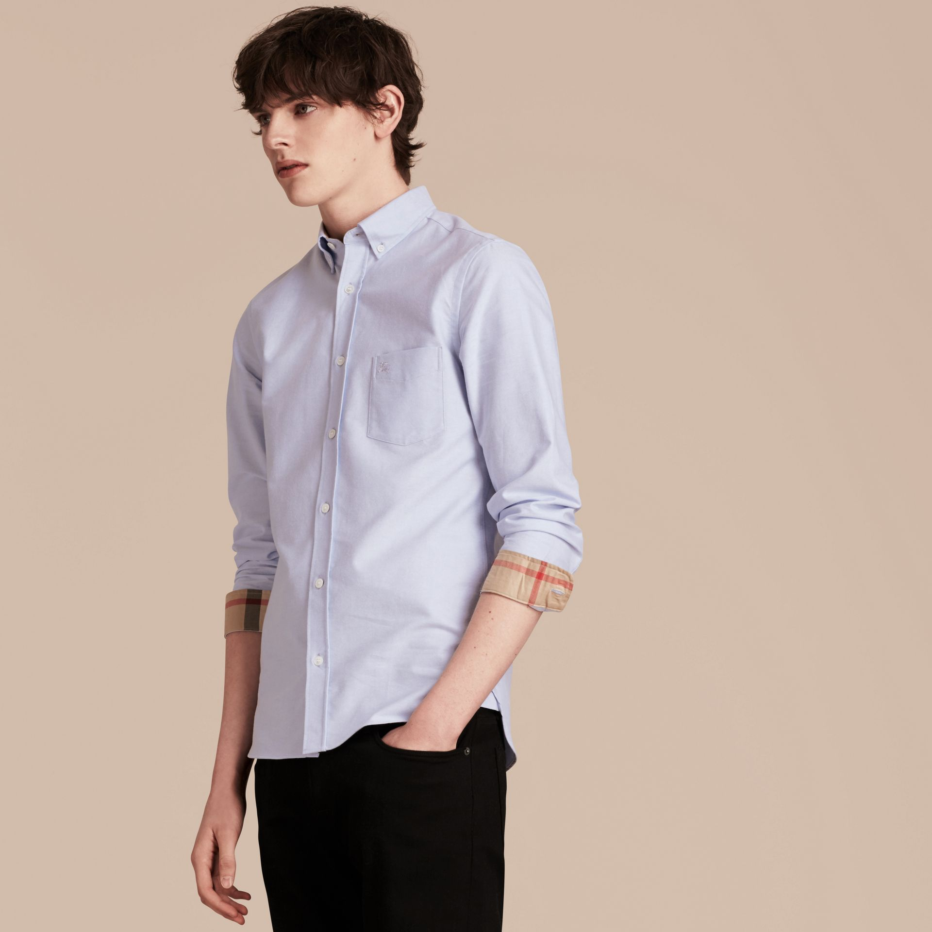 Check Detail Cotton Oxford Shirt in Cornflower Blue - gallery image 6