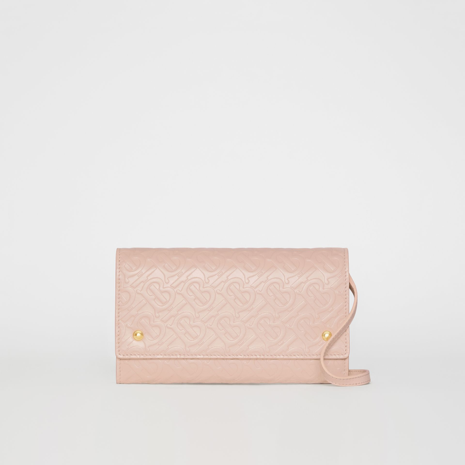 Monogram Leather Wallet with Detachable Strap in Rose Beige - Women | Burberry - gallery image 0