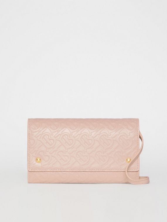Monogram Leather Wallet with Detachable Strap in Rose Beige