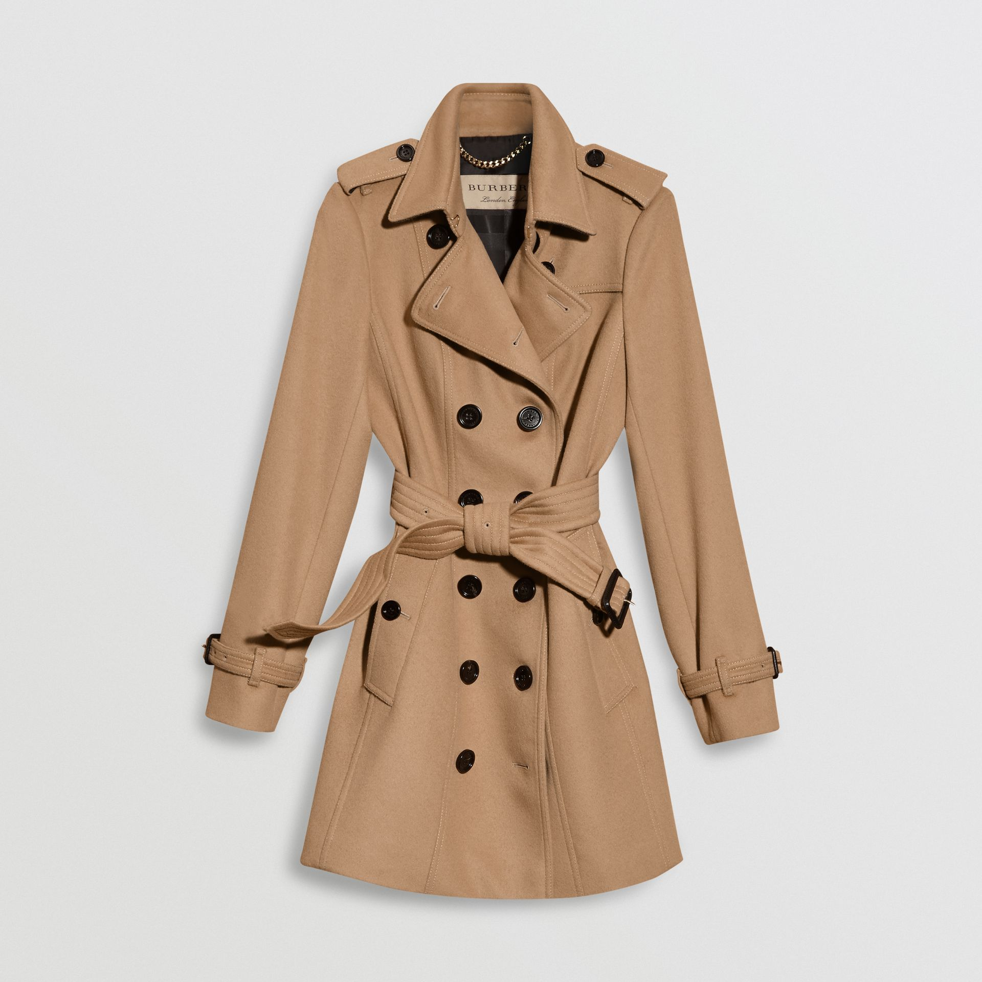 Wool Cashmere Trench Coat with Fur Collar in Camel - Women | Burberry United States - gallery image 3