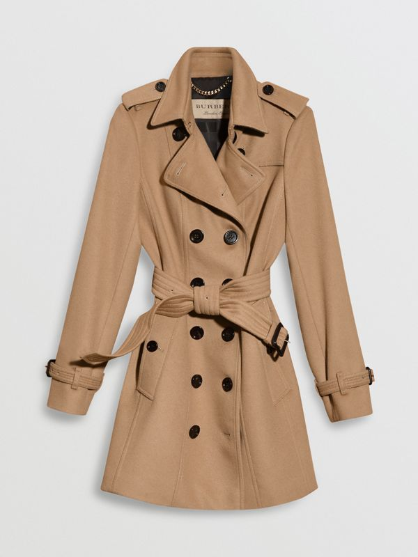 Wool Cashmere Trench Coat with Fur Collar in Camel - Women | Burberry United States - cell image 3