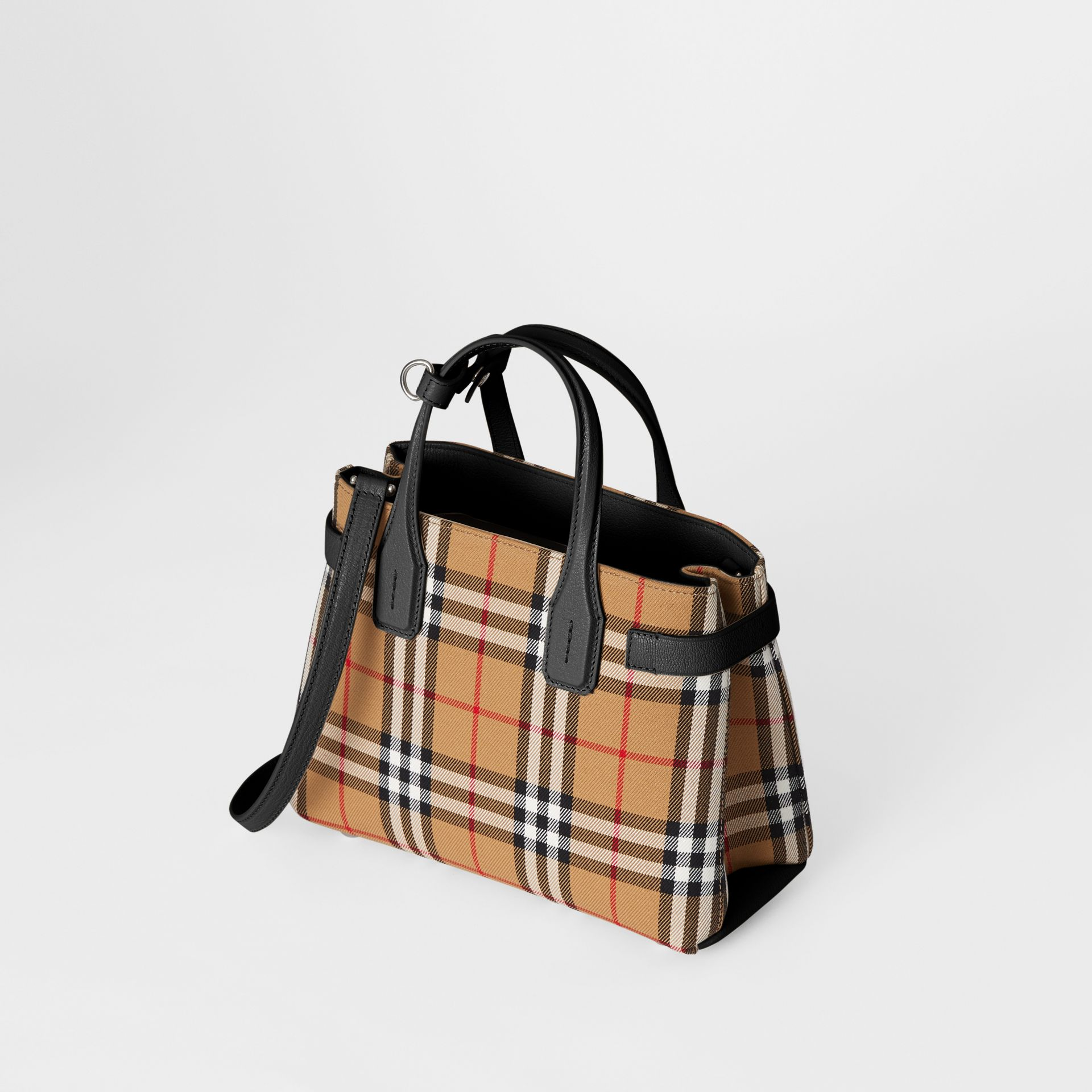 The Small Banner in Vintage Check and Leather in Black - Women | Burberry Singapore - gallery image 4