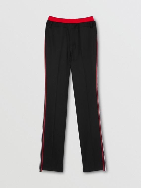 Classic Fit Stripe Detail Double-waist Wool Trousers in Black