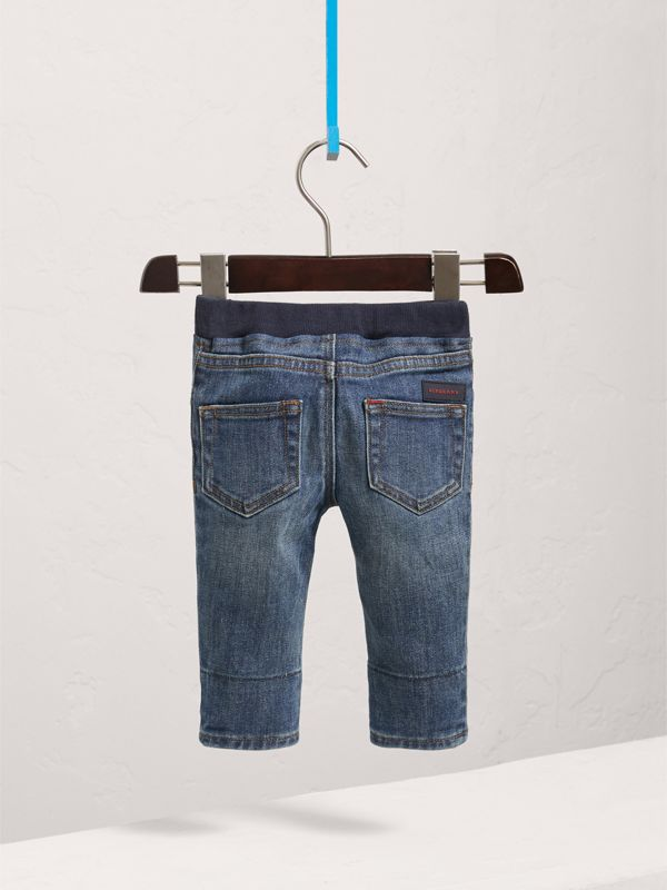 Relaxed Fit Pull-on Denim Jeans in Mid Indigo - Children | Burberry Australia - cell image 3