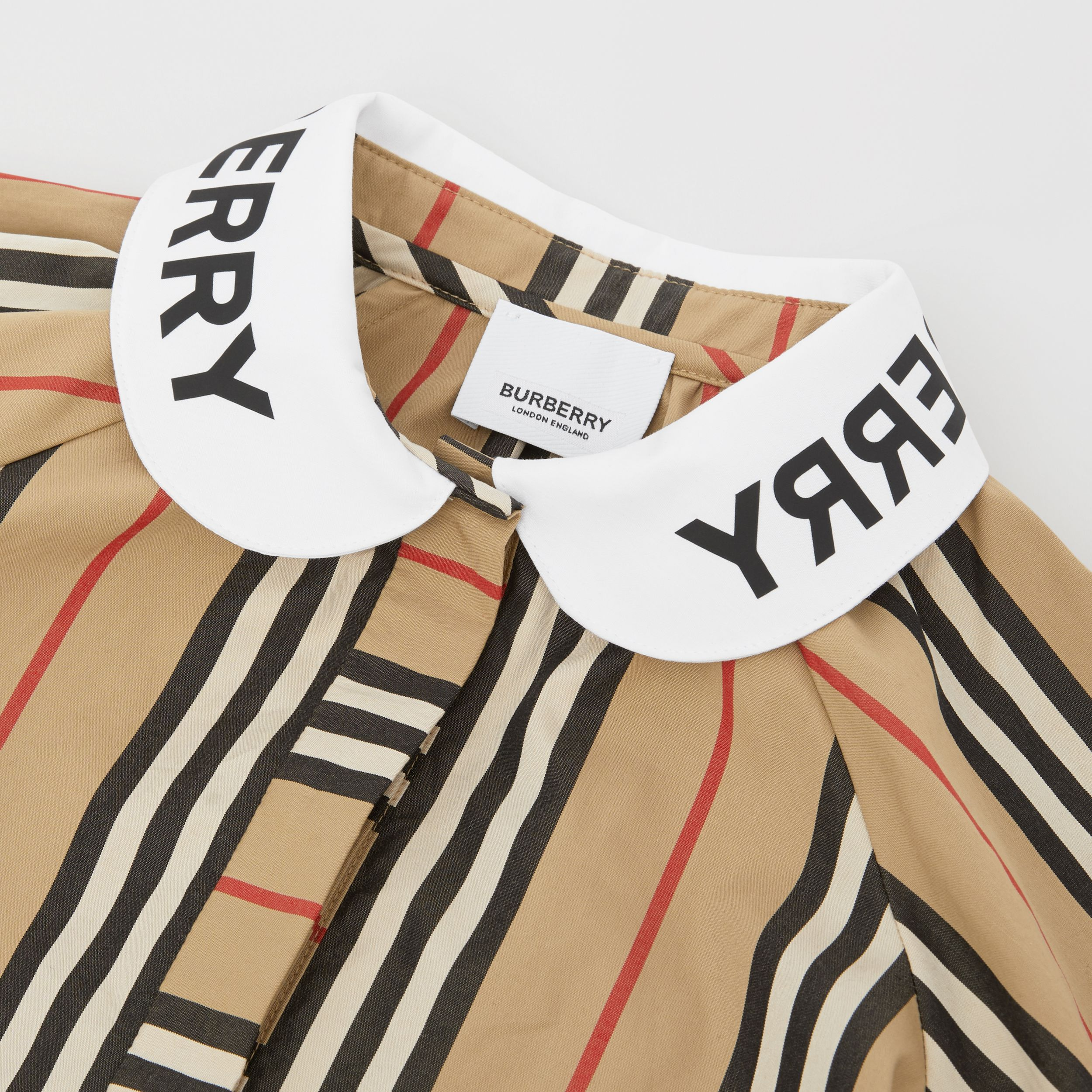 Logo Print Puff-sleeve Icon Stripe Cotton Blouse | Burberry Singapore - 2