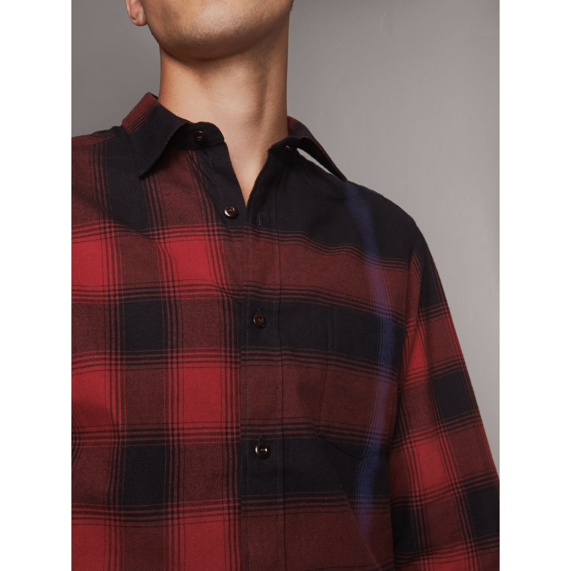Ombré Check Cotton Flannel Shirt in Crimson Red - Men | Burberry - gallery image 2