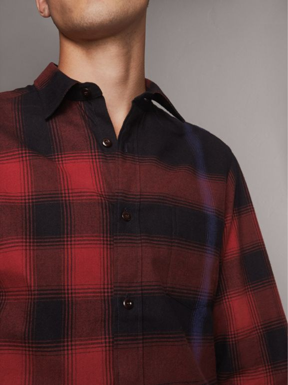 Ombré Check Cotton Flannel Shirt in Crimson Red - Men | Burberry United Kingdom - cell image 1