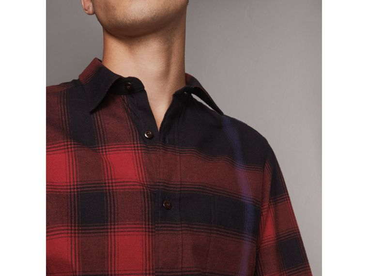 Ombré Check Cotton Flannel Shirt in Crimson Red - Men | Burberry - cell image 1