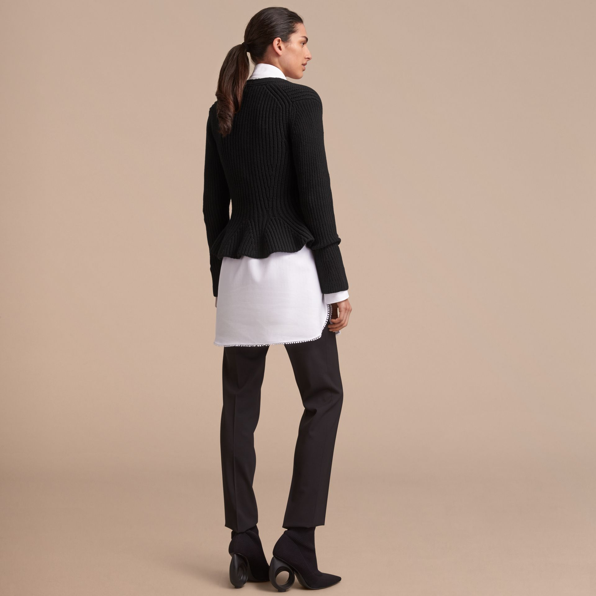 Knitted Wool Cashmere Blend Peplum Jacket - gallery image 3