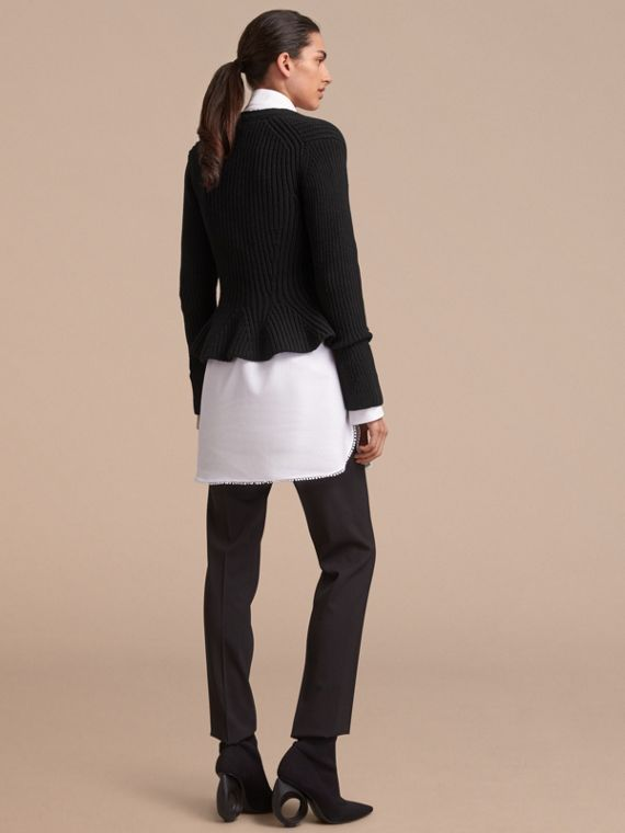 Knitted Wool Cashmere Blend Peplum Jacket - cell image 2