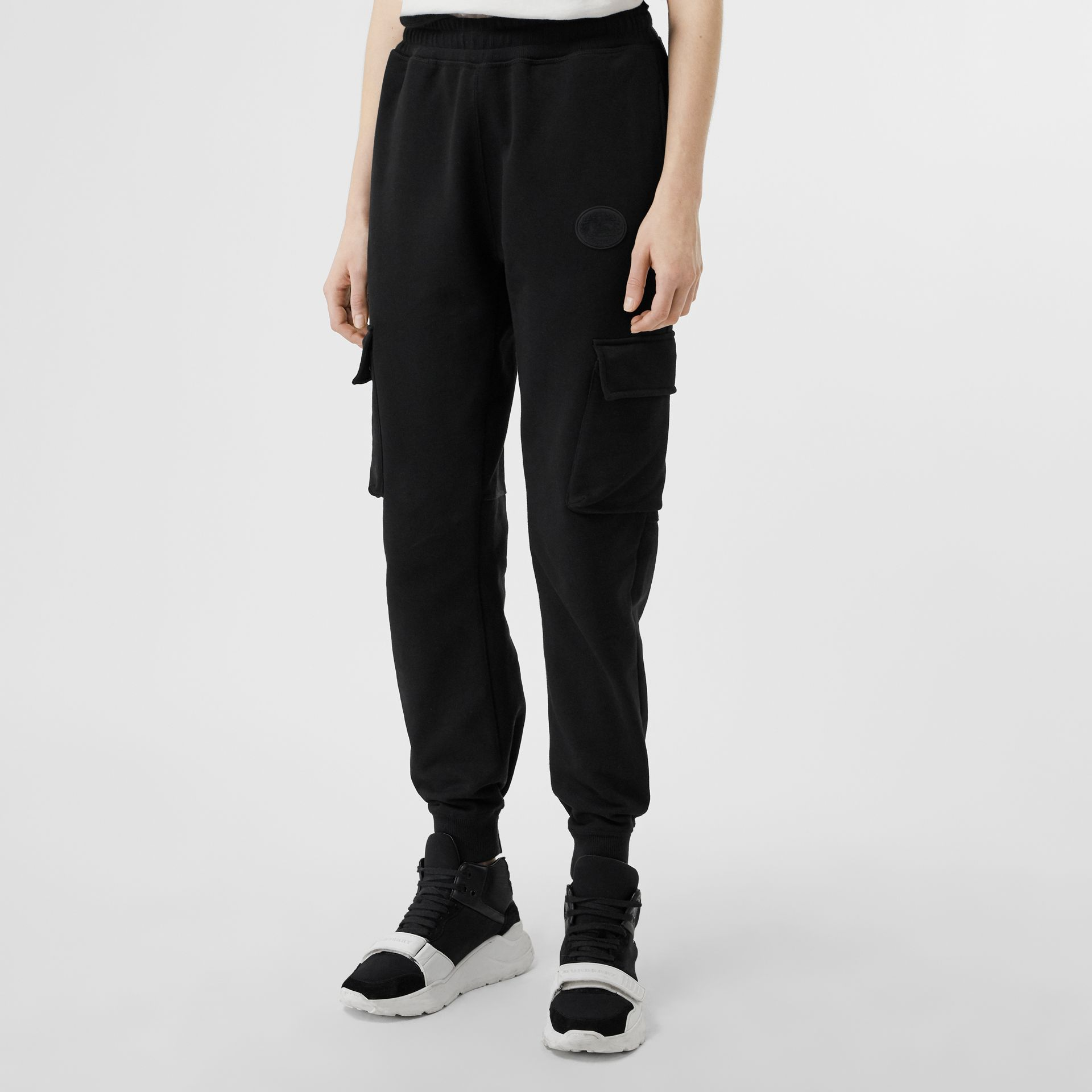 Pocket Detail Cotton Jersey Trackpants in Black - Women | Burberry - gallery image 4