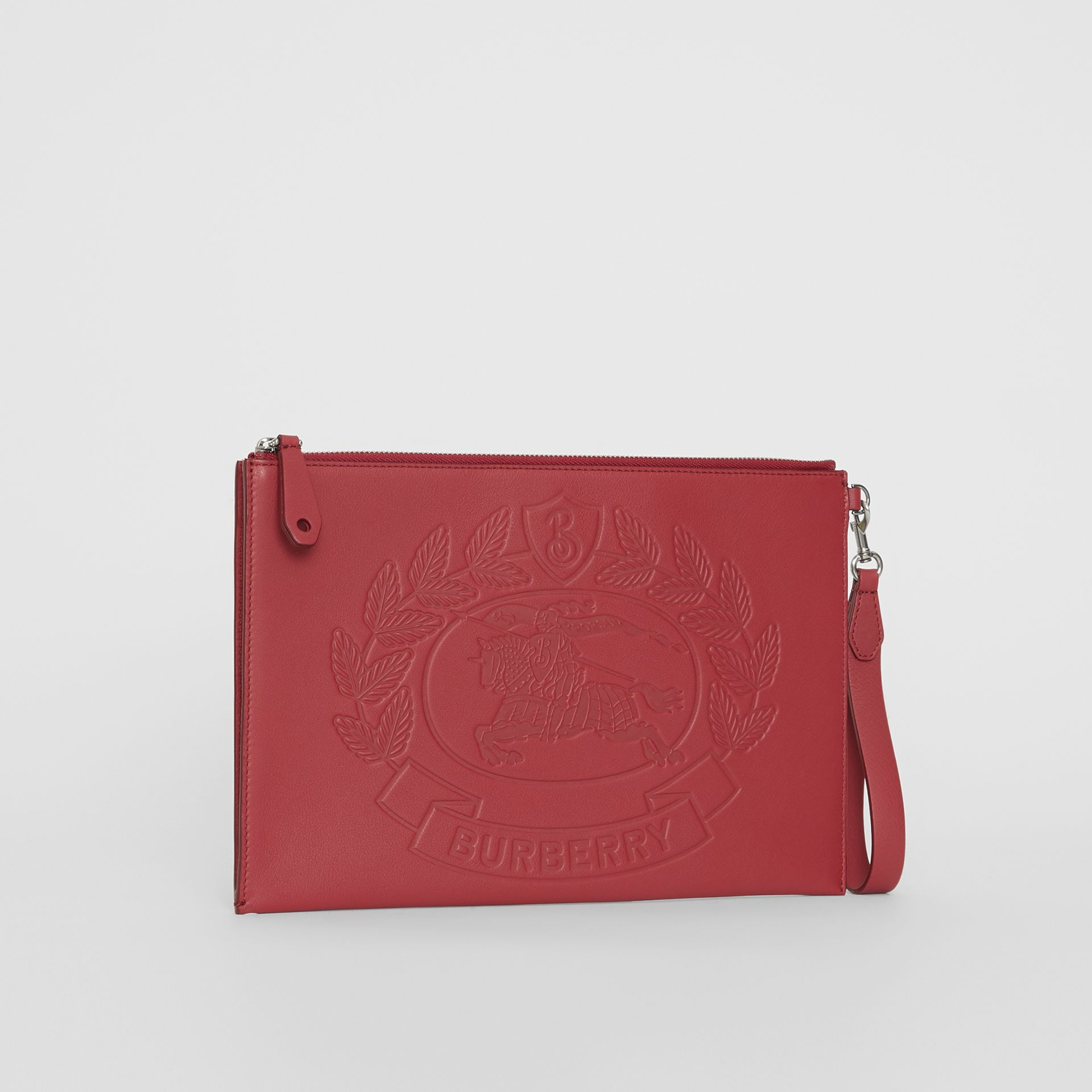Embossed Crest Leather Zip Pouch in Crimson - Men | Burberry - gallery image 4