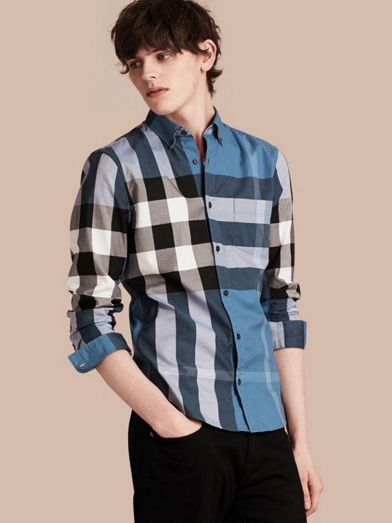Check Cotton Shirt Lupin Blue