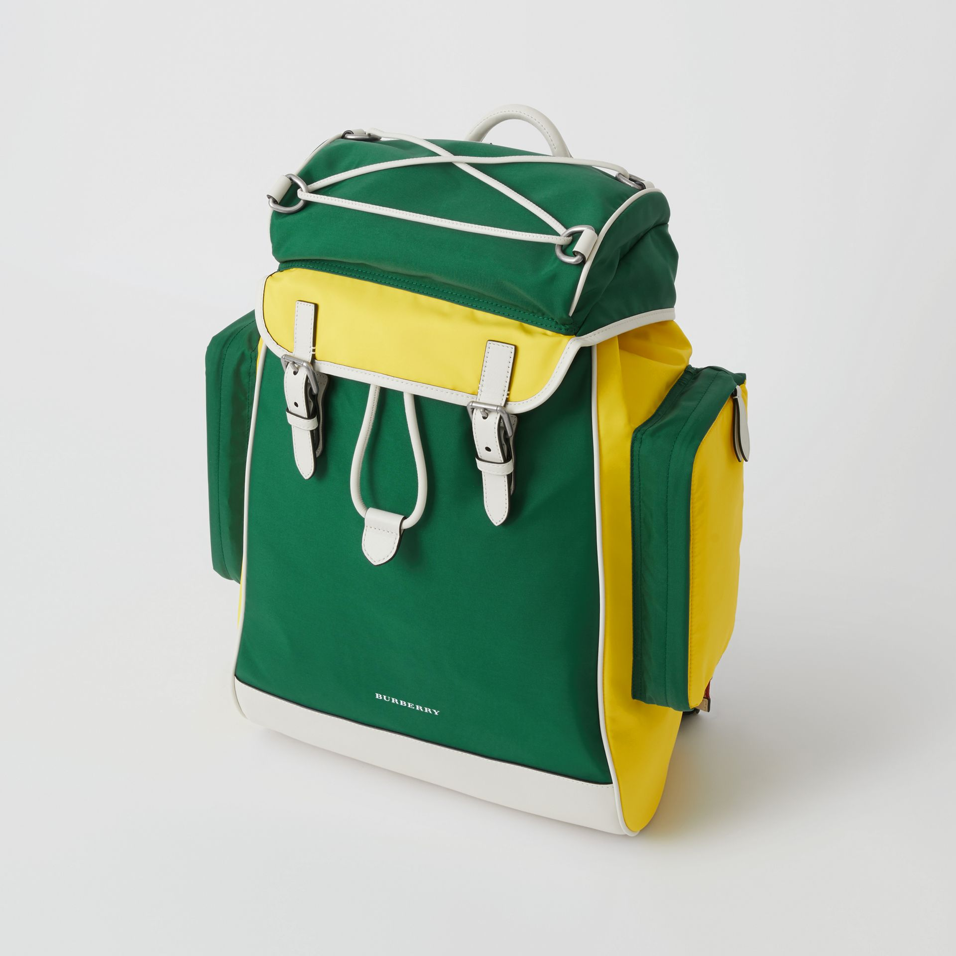 Tri-tone Nylon and Leather Backpack in Pine Green - Men | Burberry Canada - gallery image 2