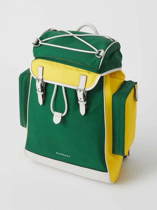 Tri-tone Nylon and Leather Backpack in Pine Green - Men | Burberry - cell image 2