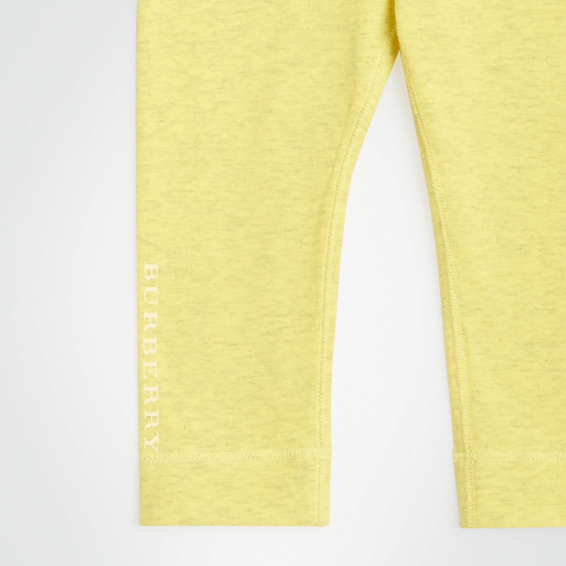 Logo Print Stretch Jersey Leggings in Citrus Yellow - Children | Burberry - gallery image 4