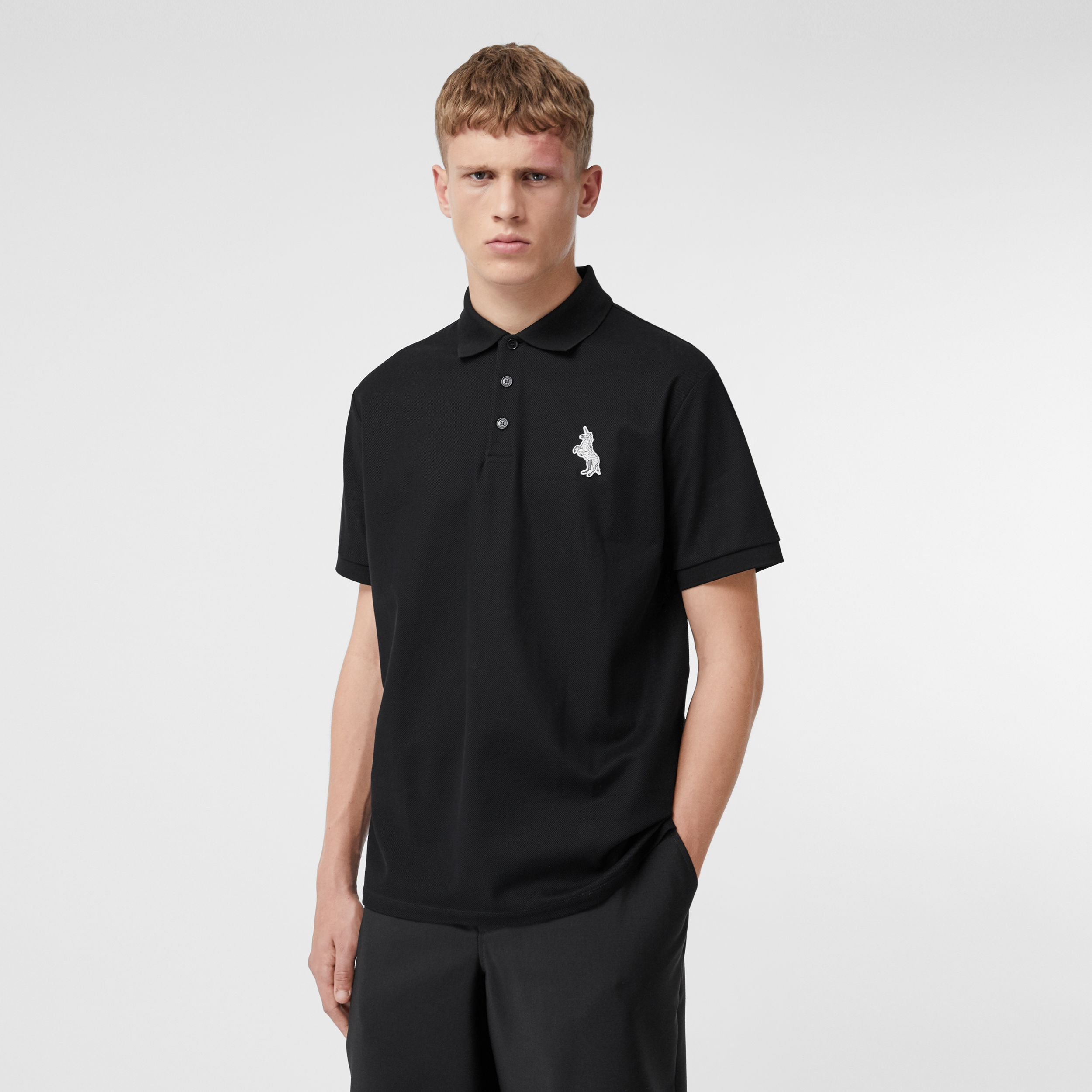 Zebra Appliqué Cotton Piqué Polo Shirt in Black - Men | Burberry - 1