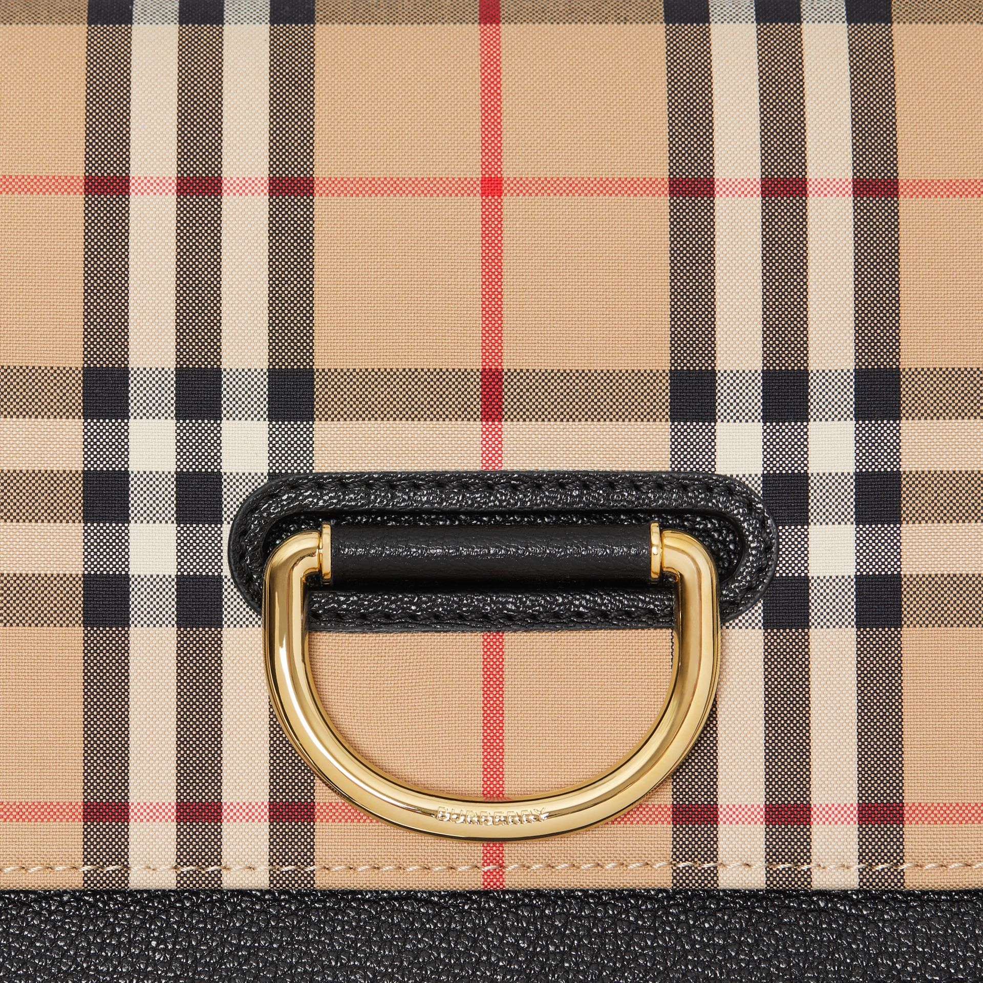 The Small Vintage Check and Leather D-ring Bag in Black - Women | Burberry United States - gallery image 2