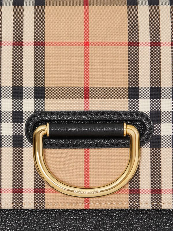 The Small Vintage Check and Leather D-ring Bag in Black - Women | Burberry - cell image 2