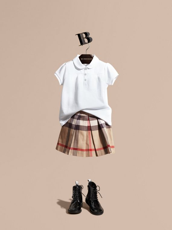Pleated Check Cotton Skirt New Classic