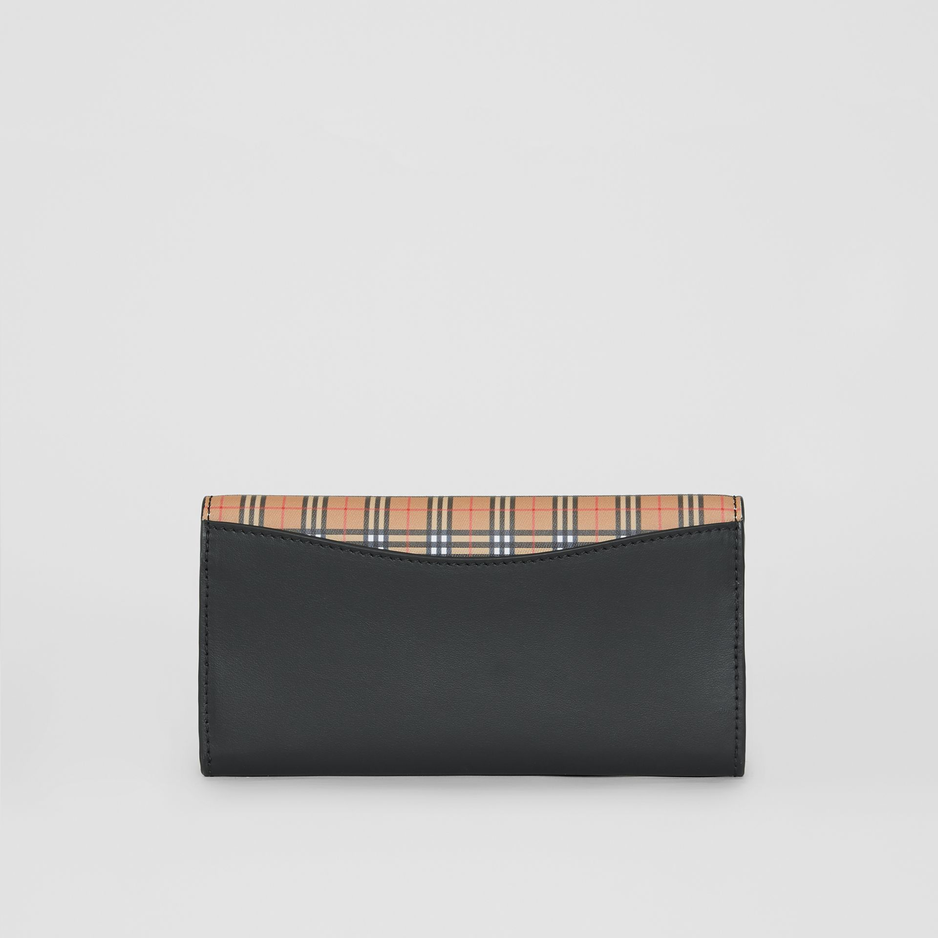 Small Scale Check and Leather Continental Wallet in Antique Yellow - Women | Burberry - gallery image 2