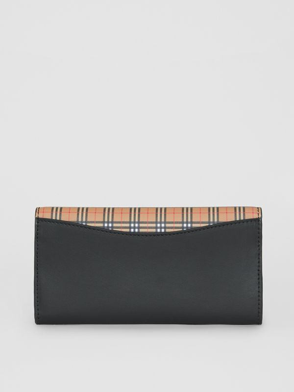 Small Scale Check and Leather Continental Wallet in Antique Yellow - Women | Burberry - cell image 2