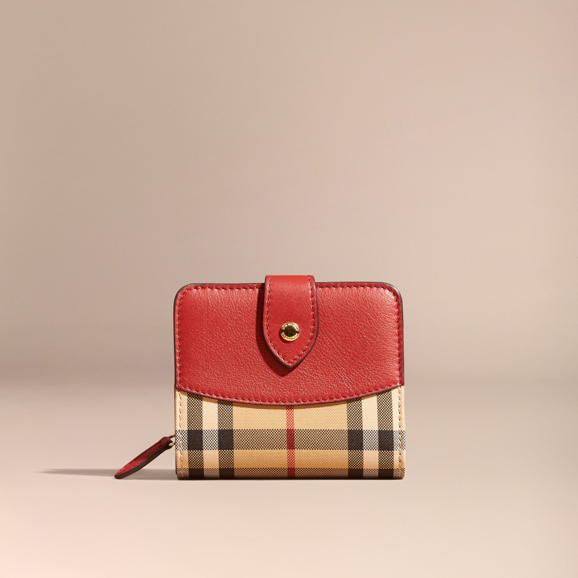 Horseferry Check and Leather Wallet Parade Red - gallery image 6