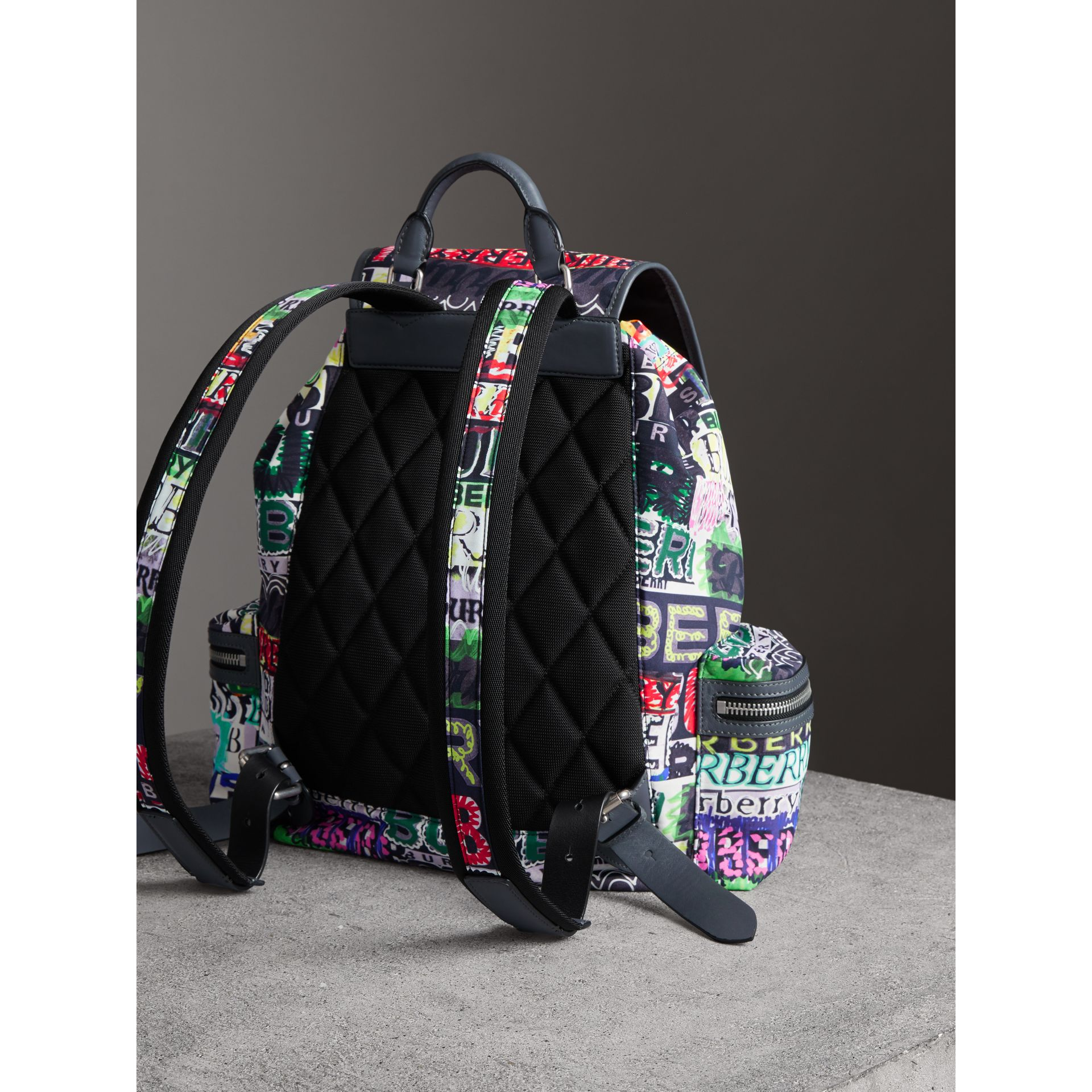 The Large Rucksack in Graffiti Logo Print in Multicolour | Burberry Australia - gallery image 4